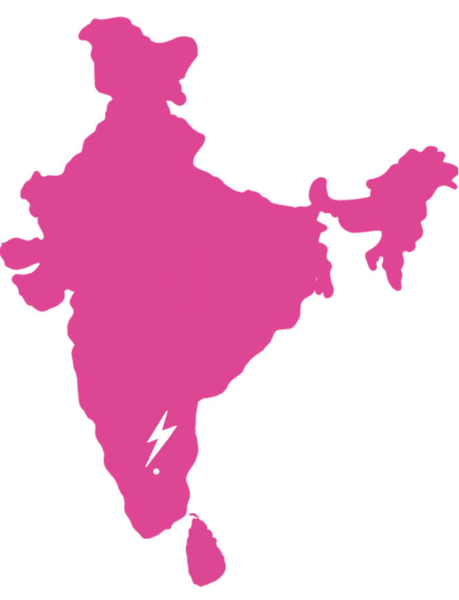 Map of South Asia showing where our Panneer Roses are harvested (southern India in Denkanikottai, Tamil Nadu).