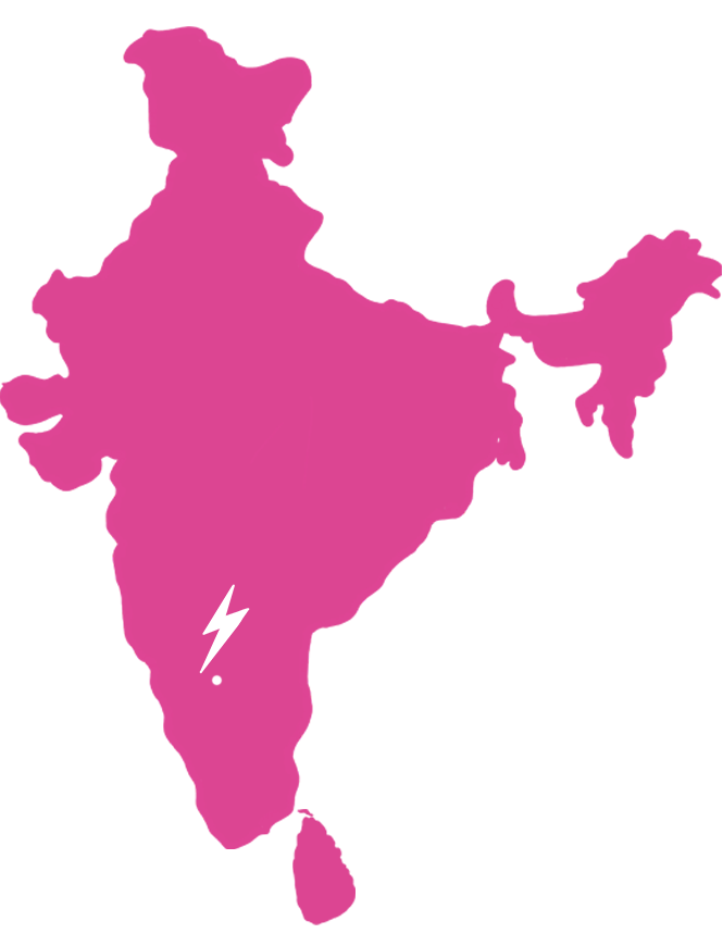 Map of South Asia showing the location of the Tiipoi studio in Bangalore