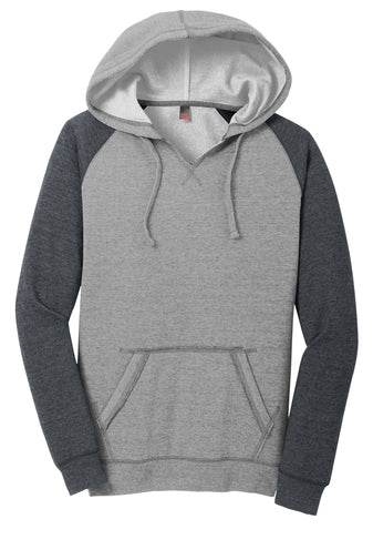 Ladies Lightweight Split V Neck Fleece Hoodie