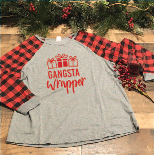 Gangsta Wrapper on Buffalo Plaid Raglan
