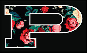 P Car Decal Pink Floral