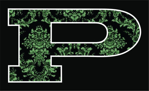 P Car Decal Green Damask