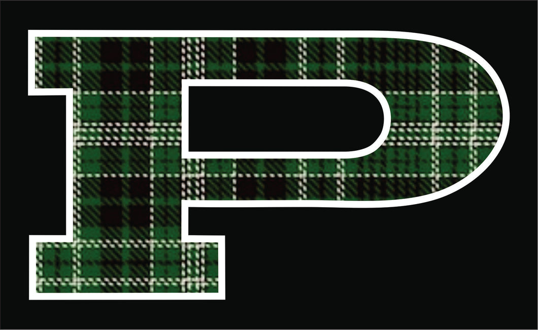 P Car Decal Green Plaid