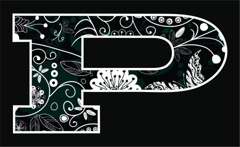 P Car Decal Green/White Scrolls