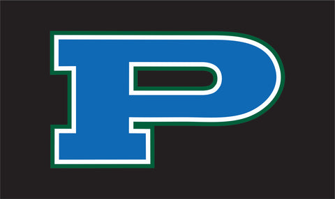 P Decal Green with Blue Outline