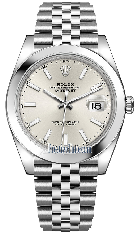 Rolex Datejust 41mm Stainless Steel 126300 Silver Index Jubilee