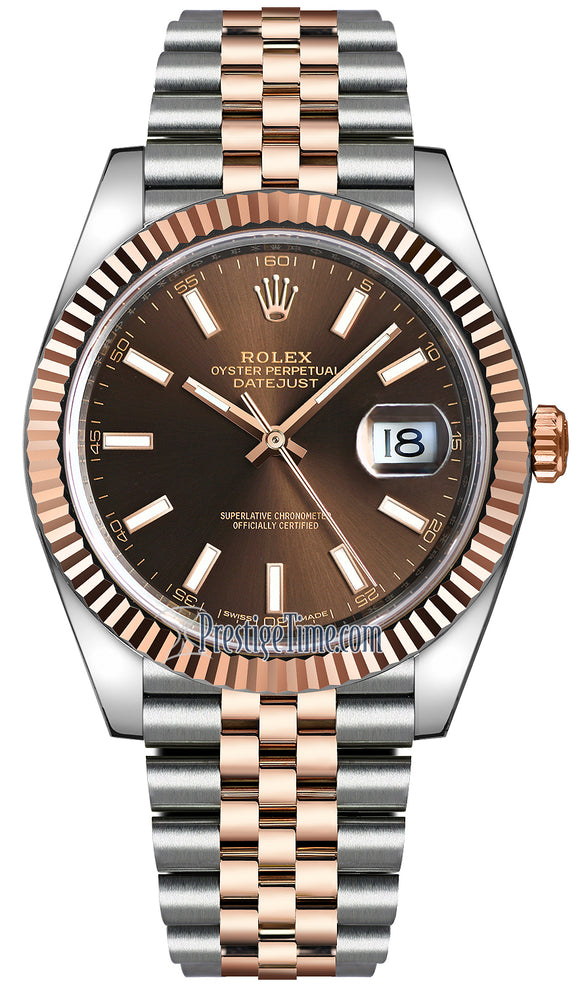 Rolex Datejust 41mm Steel and Everose Gold 126331 Chocolate Index Jubilee