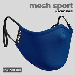 Mesh Sport Dark Assorted- Anti-Pollution Mask | Adjustable Ear Loops | | Pack of 4