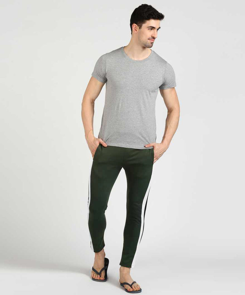 Olive Green Double Panel Track Pants
