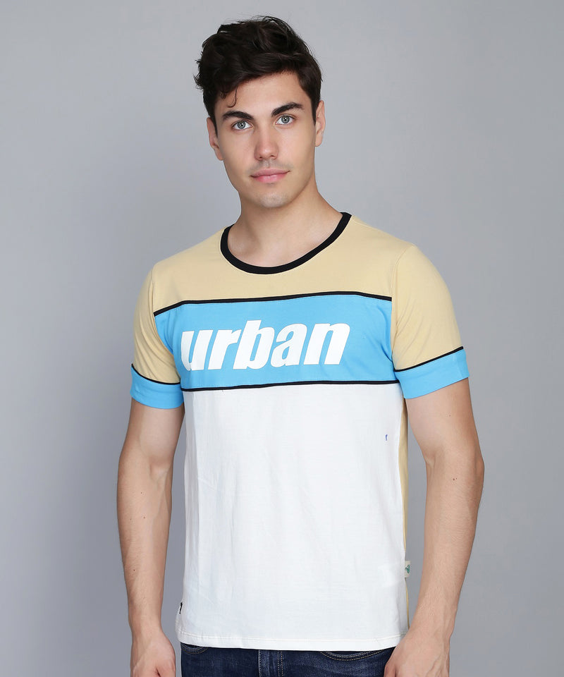 Urban Couture Colorblock T-Shirt - Beige & Blue