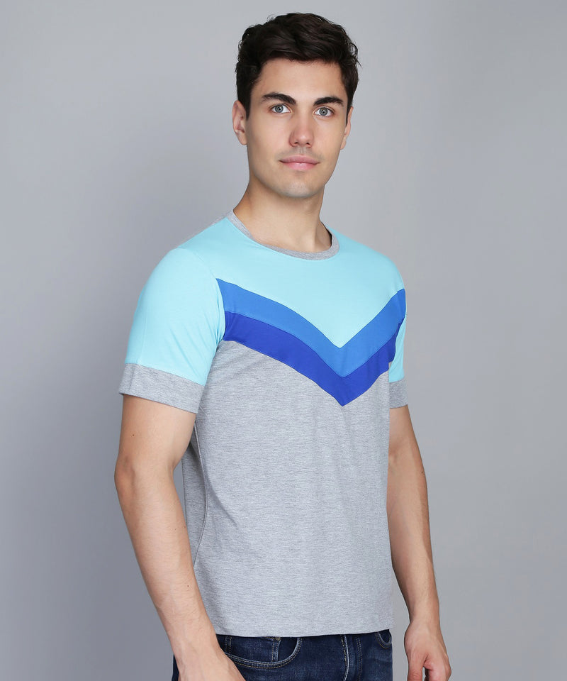 Blue and Grey Panel T-Shirt