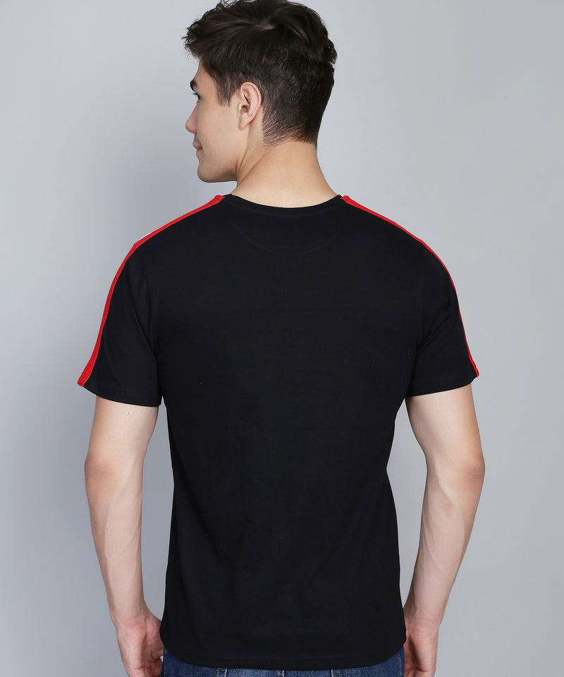 Black Shoulder Stripe T-Shirt