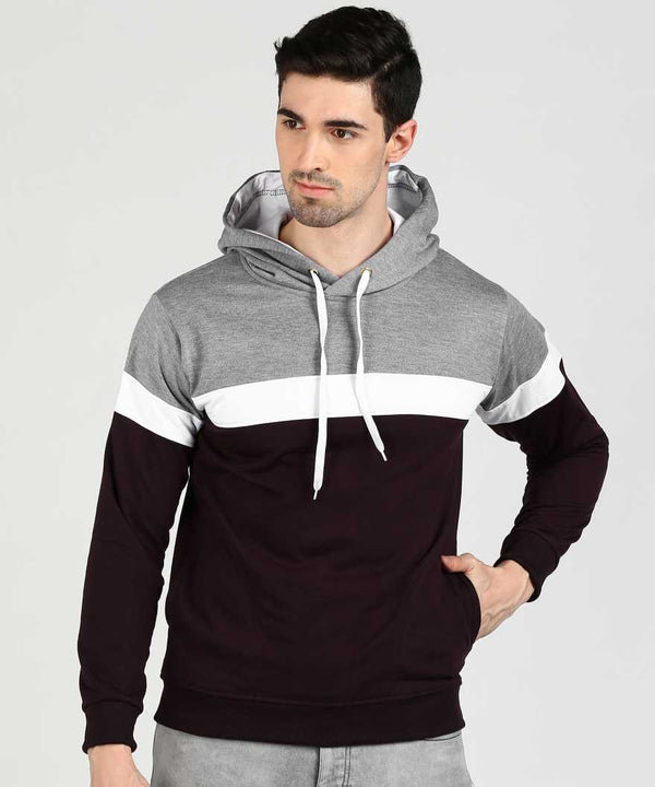 Colourblock 3 Panel Hoodie - Grey White Wine