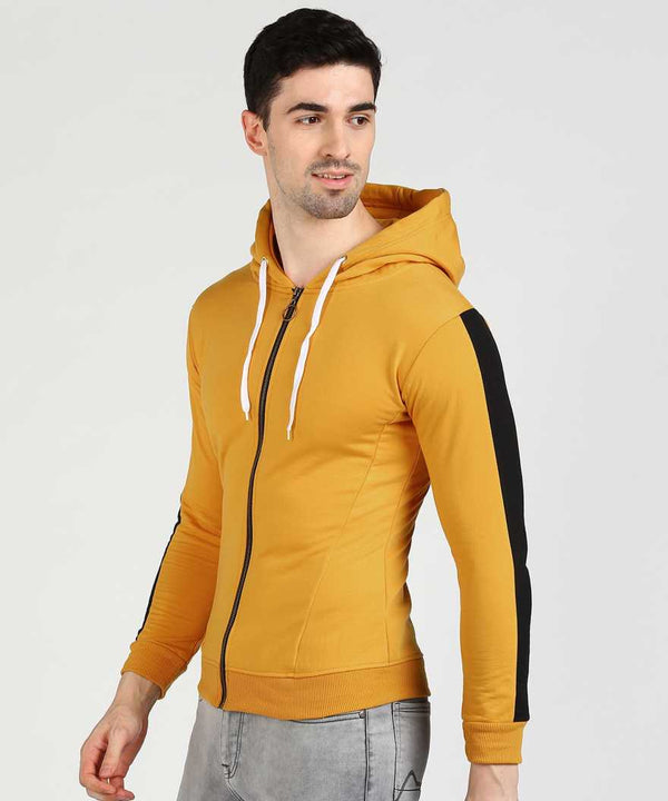 Black & Yellow Slim Fit Zip Hoodie