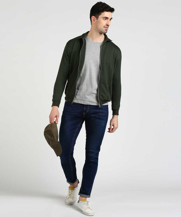 Military Green Bomber Collar Jacket