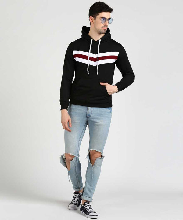 Colourblock Contrast Chest Panel Hoodie - Black