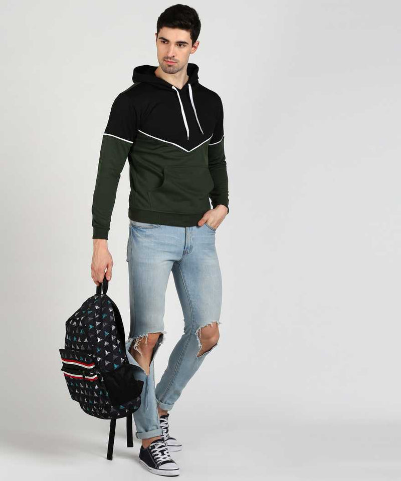Victory Hoodie with Piping - Black & Olive