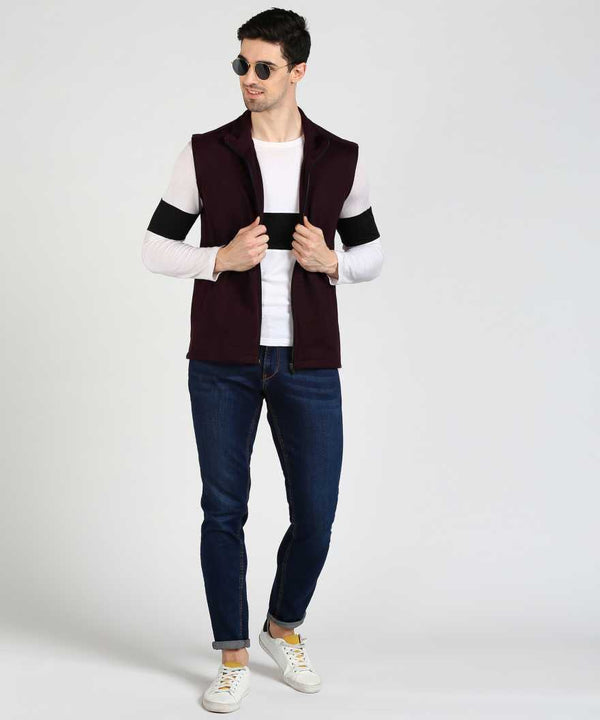 Cut Sleeve Fleece Jacket - Wine