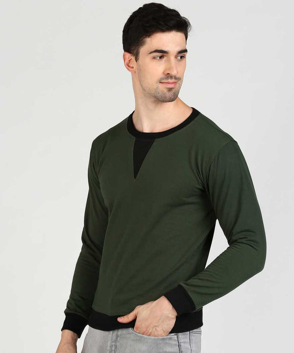 Military Green & Black Self Design Jumper Sweatshirt