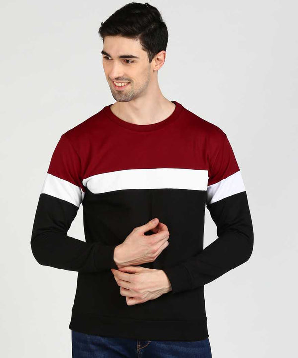 Colourblock 3 Panel Jumper Sweatshirt - Maroon White Black