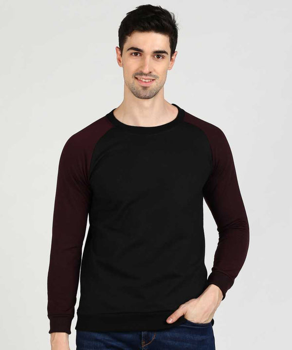 Black & Wine Baseball Jumper Sweatshirt