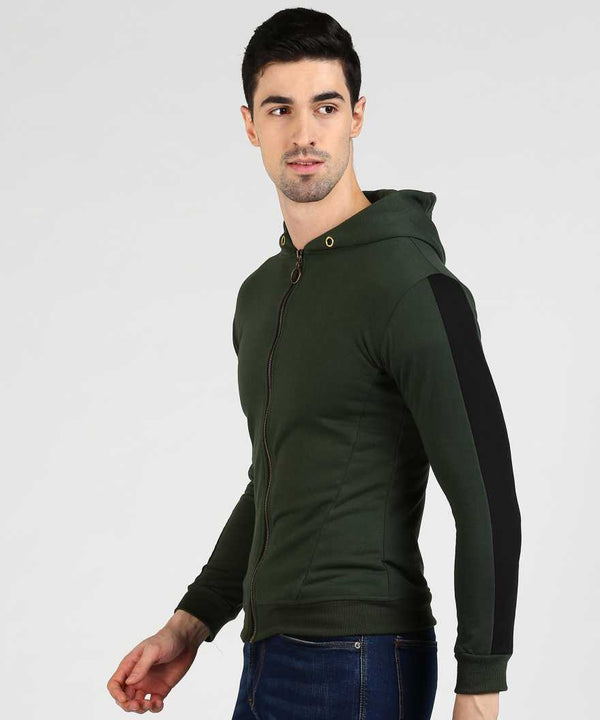 Green & Black Slim Fit Zip Hoodie
