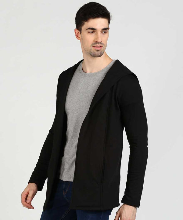 Black Hooded Fleece Shrug
