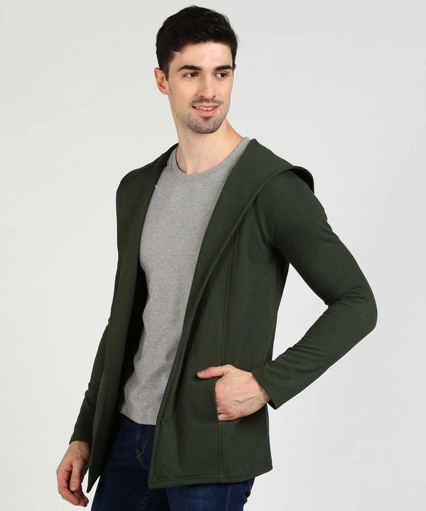 Military Green Hooded Fleece Shrug