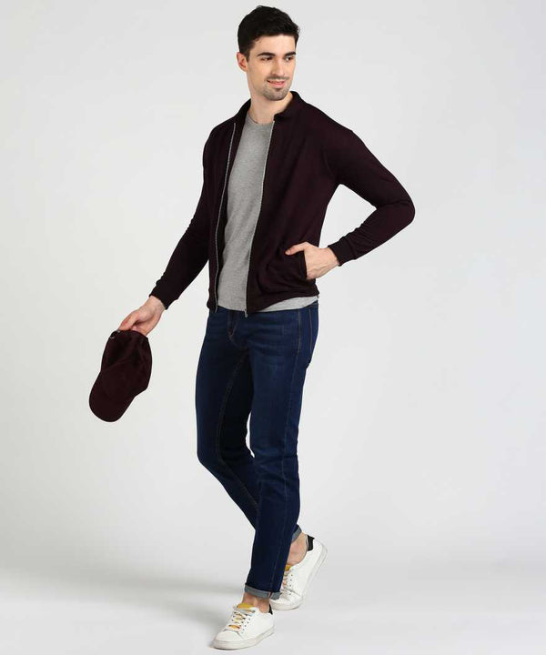 Wine Bomber Collar Jacket