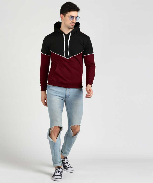 Victory Hoodie with Piping - Black & Maroon