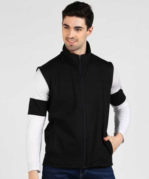 Cut Sleeve Fleece Jacket - Black