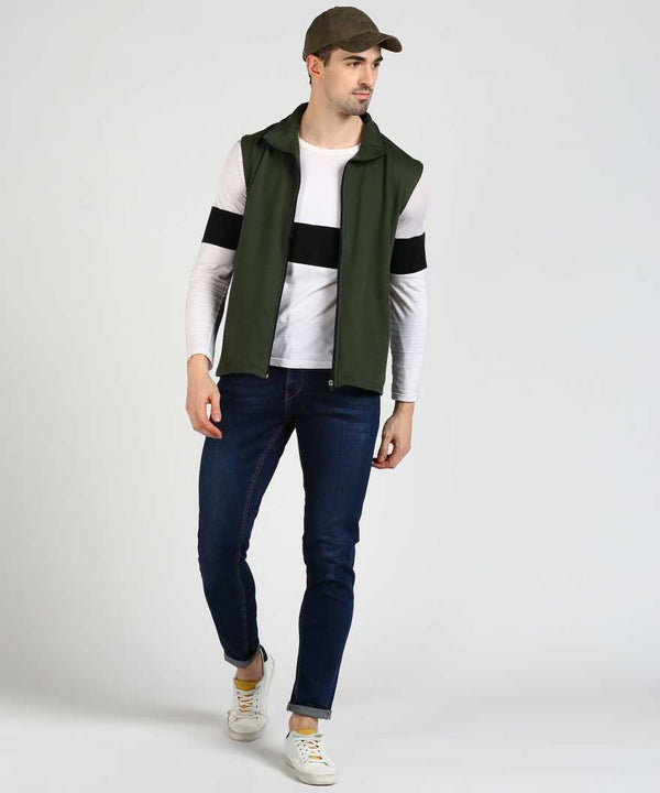 Cut Sleeve Fleece Jacket - Military Green