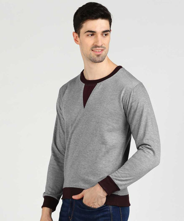 Grey & Wine Self Design Jumper Sweatshirt
