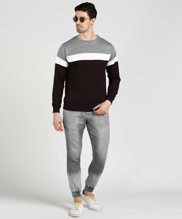 Colourblock 3 Panel Jumper Sweatshirt - Grey White Wine