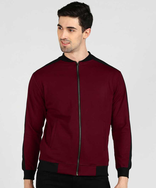 Maroon Sleeve Panel Bomber Jacket