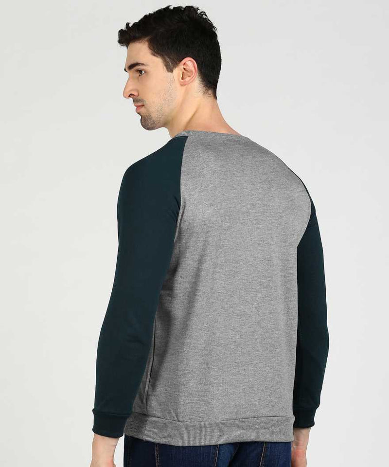 Grey & Sea Blue Baseball Jumper Sweatshirt