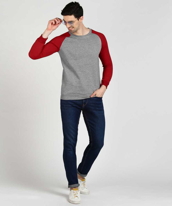 Grey & Red Baseball Jumper Sweatshirt