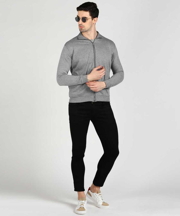 Grey Bomber Collar Jacket