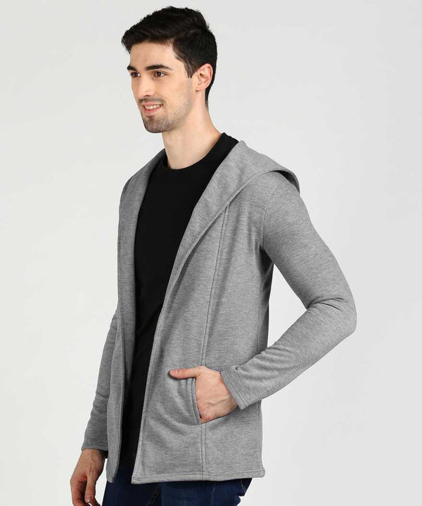 Grey Hooded Fleece Shrug