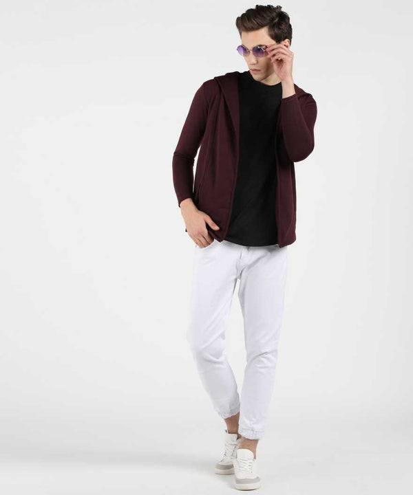 Wine Hooded Fleece Shrug