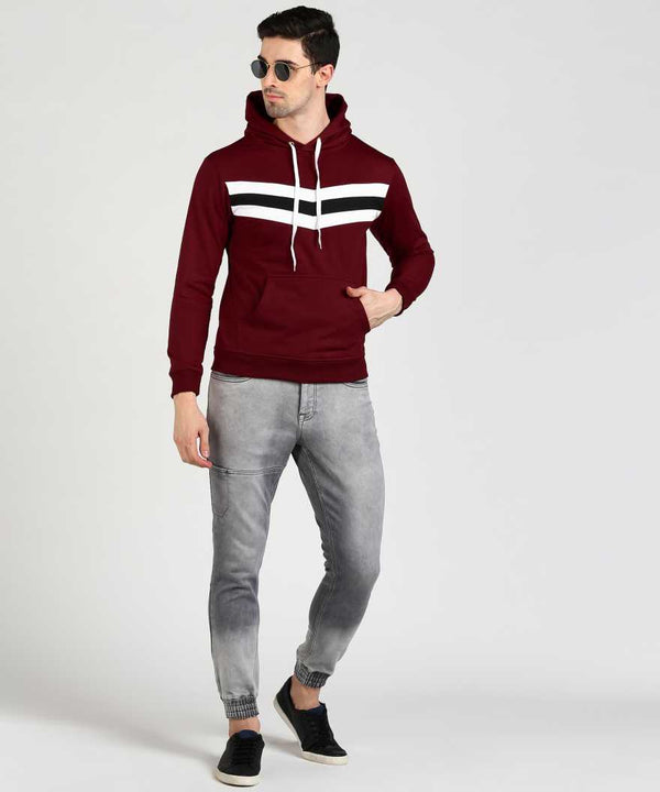 Colourblock Contrast Chest Panel Hoodie - Maroon