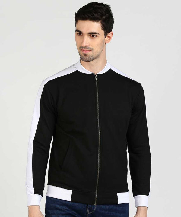 Black Sleeve Panel Bomber Jacket