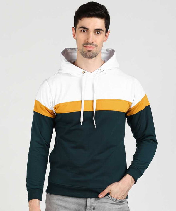 Colourblock 3 Panel Hoodie - White Yellow SeaBlue