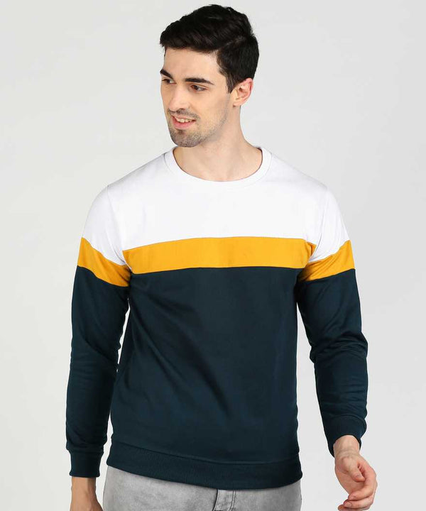 Colourblock 3 Panel Jumper Sweatshirt - White Yellow SeaBlue