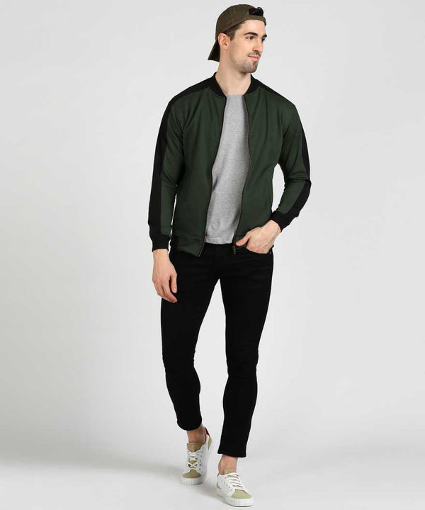 Military Green Sleeve Panel Bomber Jacket