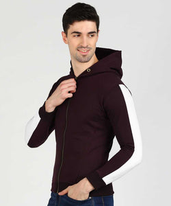 Wine & White Slim Fit Zip Hoodie
