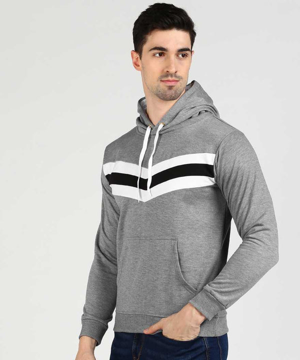 Colourblock Contrast Chest Panel Hoodie - Grey