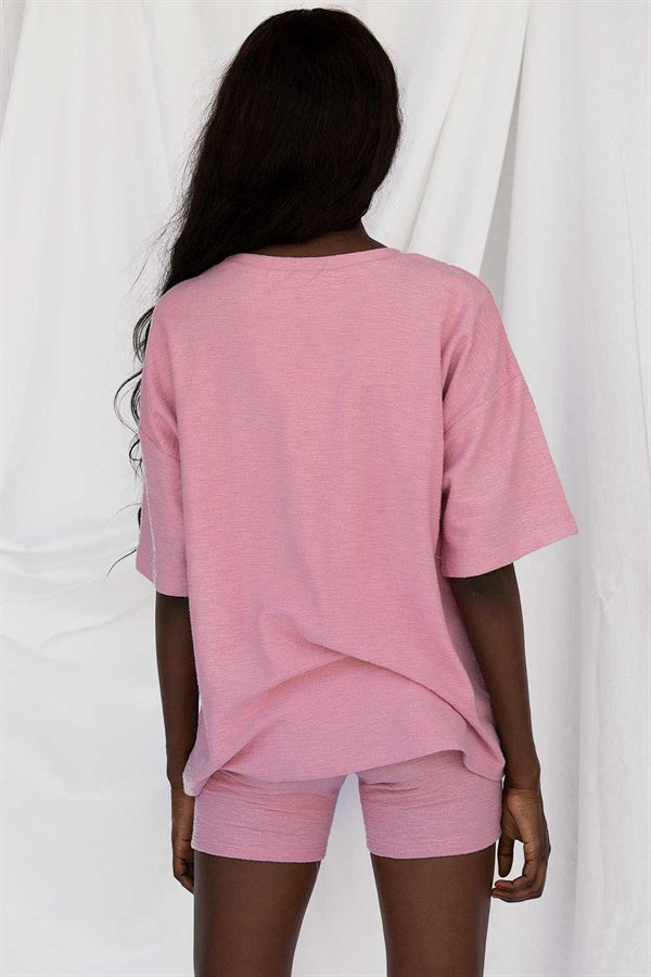 SAMPLE-Archer Tee - Grainy Pink