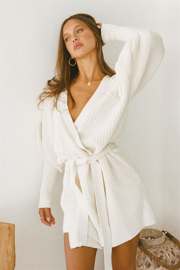 SAMPLE-Elle Knit Dress - White