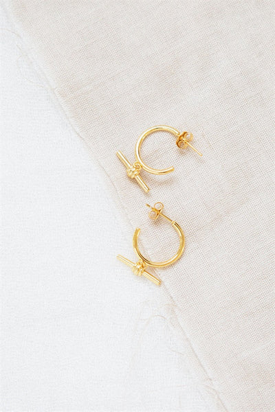 18K T Bar Earrings